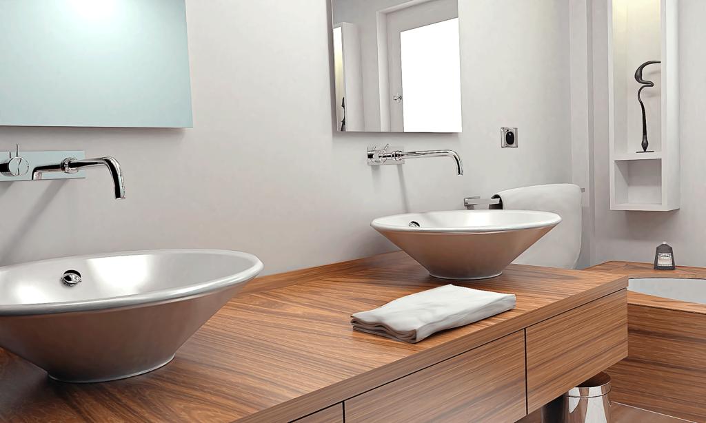 Interno di un bagno con vista sui lavandini posati su piano in legno. Rendering Grafica Cataloghi Rimini